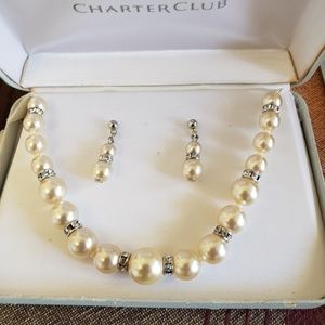 Charter Club vtg. pearls and rhinestones set.